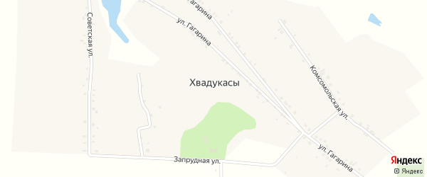 Запрудная улица на карте деревни Хвадукасы с номерами домов