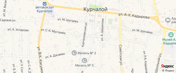 Предгорная улица на карте села Курчалой с номерами домов