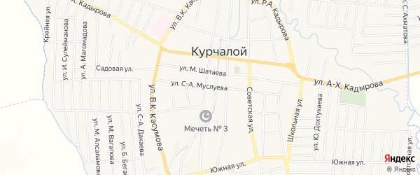 Карта села Курчалой в Чечне с улицами и номерами домов