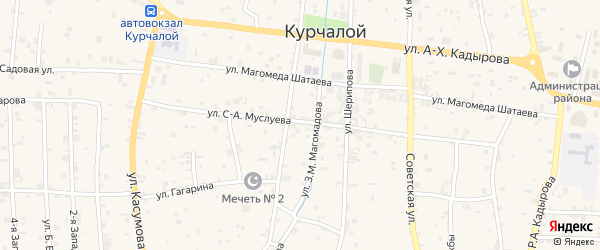 Улица А.Исаева на карте села Курчалой с номерами домов