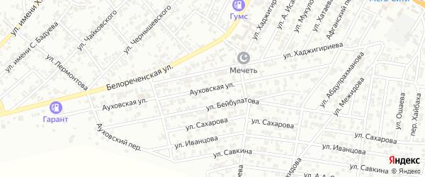 Ауховская улица на карте Гудермеса с номерами домов