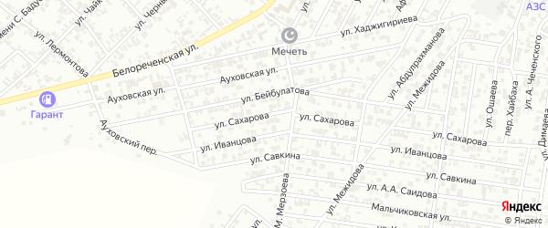 Улица А.Сахарова на карте Гудермеса с номерами домов