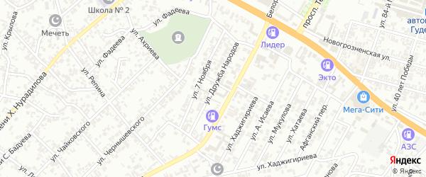 Улица Дружбы народов на карте Гудермеса с номерами домов