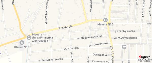 Южная 1-я улица на карте села Курчалой с номерами домов
