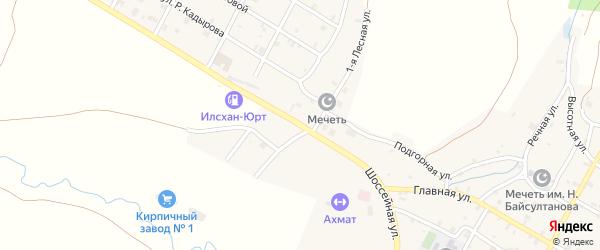 Шоссейная улица на карте села Илсхан-Юрт с номерами домов