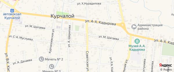 Советская улица на карте села Курчалой с номерами домов