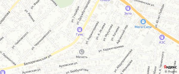 Улица Х.Исаева на карте Гудермеса с номерами домов