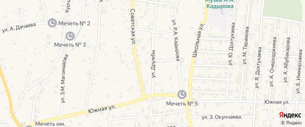Улица Дружбы на карте села Курчалой с номерами домов