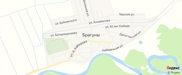Карта села Брагунов в Чечне с улицами и номерами домов
