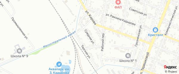 Средняя улица на карте Гудермеса с номерами домов