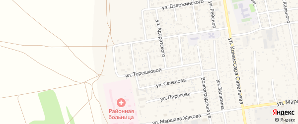 Терешковой переулок на карте села Черного Яра с номерами домов
