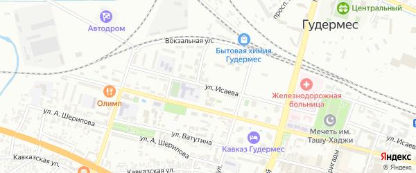 Улица Исаева на карте Гудермеса с номерами домов