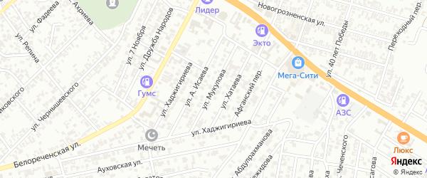Улица Мукулова на карте Гудермеса с номерами домов