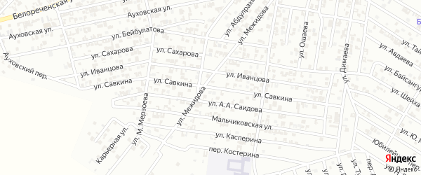 Улица Савкина на карте Гудермеса с номерами домов
