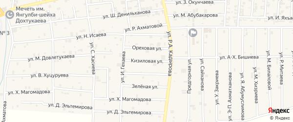 Кизиловая улица на карте села Курчалой с номерами домов
