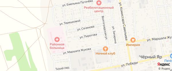 Улица Пирогова на карте села Черного Яра с номерами домов