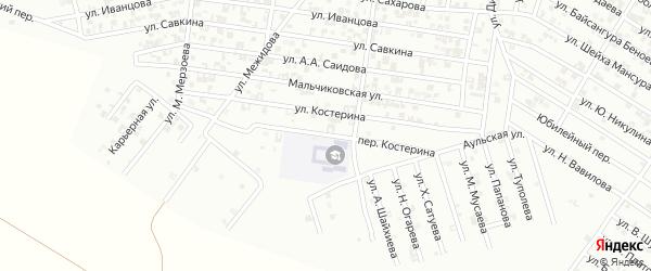 Переулок Костерина на карте Гудермеса с номерами домов