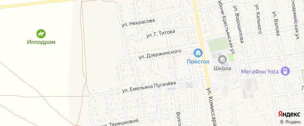 Переулок Дзержинского на карте села Черного Яра с номерами домов
