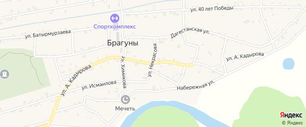 Улица Кадырова на карте села Брагунов с номерами домов