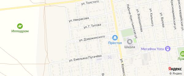 Улица Дзержинского на карте села Черного Яра с номерами домов