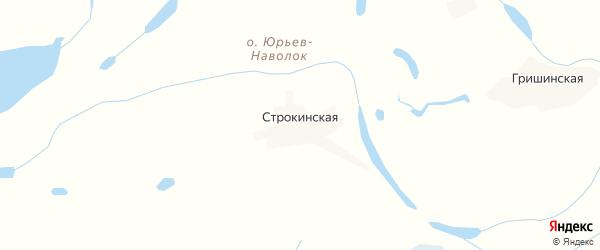 Карта Строкинской деревни в Архангельской области с улицами и номерами домов