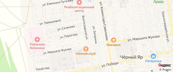 Волгоградская улица на карте села Черного Яра с номерами домов