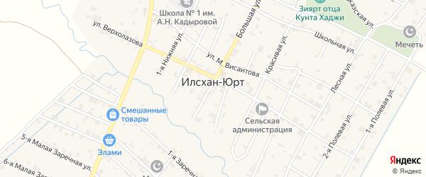 Горная улица на карте села Илсхан-Юрт с номерами домов