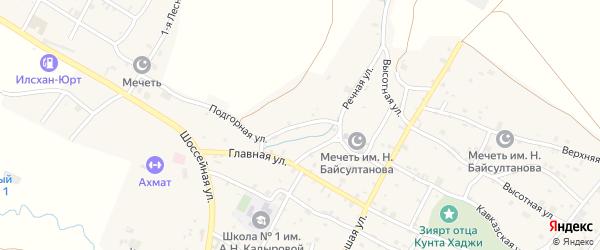 Подгорная улица на карте села Илсхан-Юрт с номерами домов