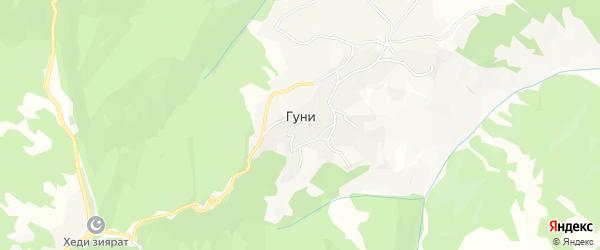 Карта села Гуни в Чечне с улицами и номерами домов
