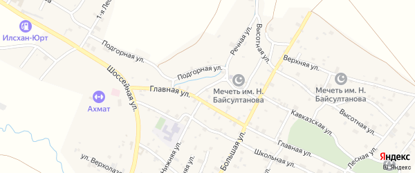 Улица А.Кадырова на карте села Илсхан-Юрт с номерами домов