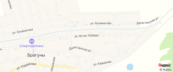 Улица 40 лет Победы на карте села Брагунов с номерами домов