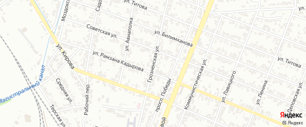 Грозненская улица на карте села Верхний-Нойбер с номерами домов