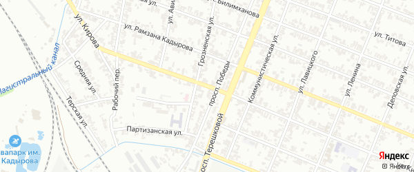 Улица Кирова на карте Гудермеса с номерами домов