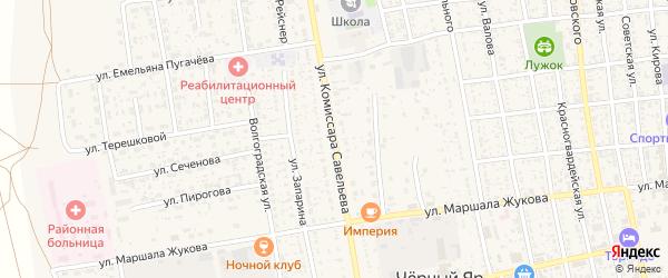 Улица Комиссара Савельева на карте села Черного Яра с номерами домов