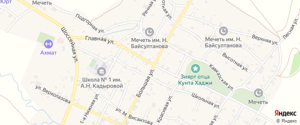 Главная улица на карте села Илсхан-Юрт с номерами домов