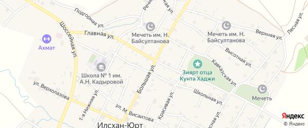 Большая улица на карте села Илсхан-Юрт с номерами домов