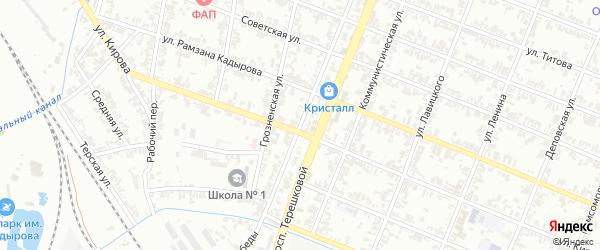 Проспект Победы на карте Гудермеса с номерами домов