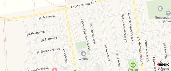 Рабоче-Крестьянская улица на карте села Черного Яра с номерами домов