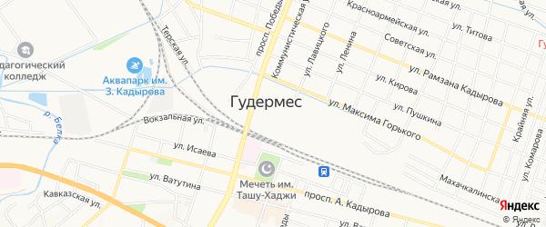 Карта поселка Кундухово города Гудермеса в Чечне с улицами и номерами домов