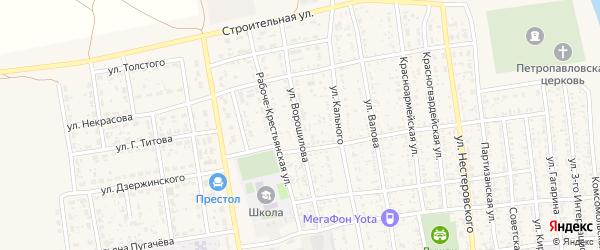 Улица Ворошилова на карте села Черного Яра с номерами домов