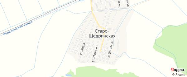 Карта Старо-Щедринская станицы в Чечне с улицами и номерами домов