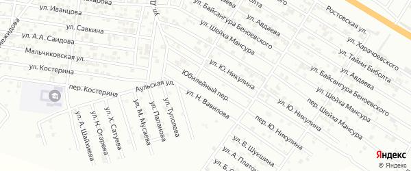 Юбилейный переулок на карте Гудермеса с номерами домов