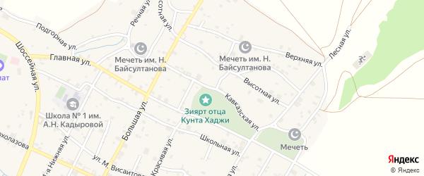 Кавказская улица на карте села Илсхан-Юрт с номерами домов