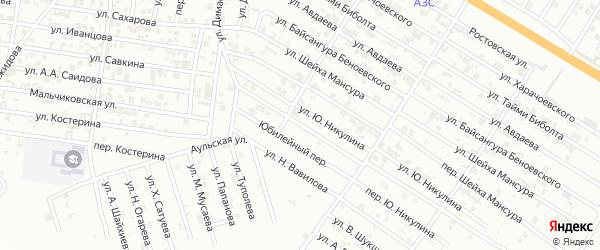 Юбилейная улица на карте Гудермеса с номерами домов