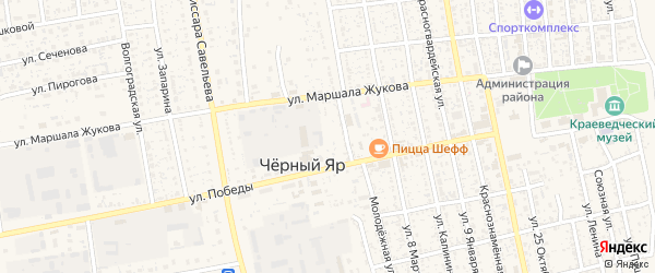 Центральный микрорайон на карте села Черного Яра с номерами домов
