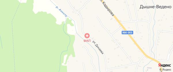 Улица Динаева на карте села Дышне-Ведено с номерами домов