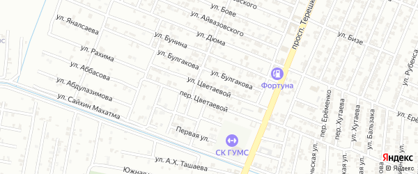 Улица Цветаевой на карте Гудермеса с номерами домов
