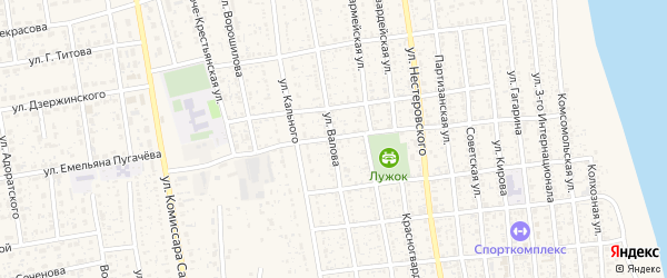 Улица Валова на карте села Черного Яра с номерами домов