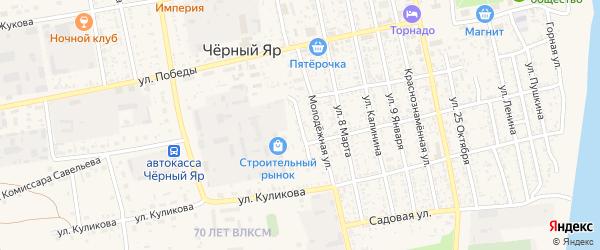 Молодежный переулок на карте села Черного Яра с номерами домов