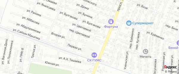 Переулок Цветаевай на карте Гудермеса с номерами домов